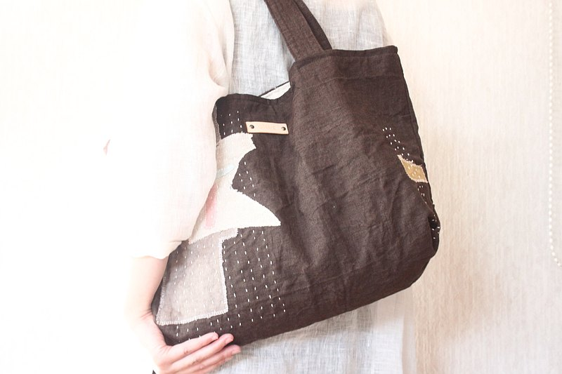 Linen collage big tote bag  黒鳶