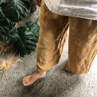 Autumn linen wide tube pocket pants