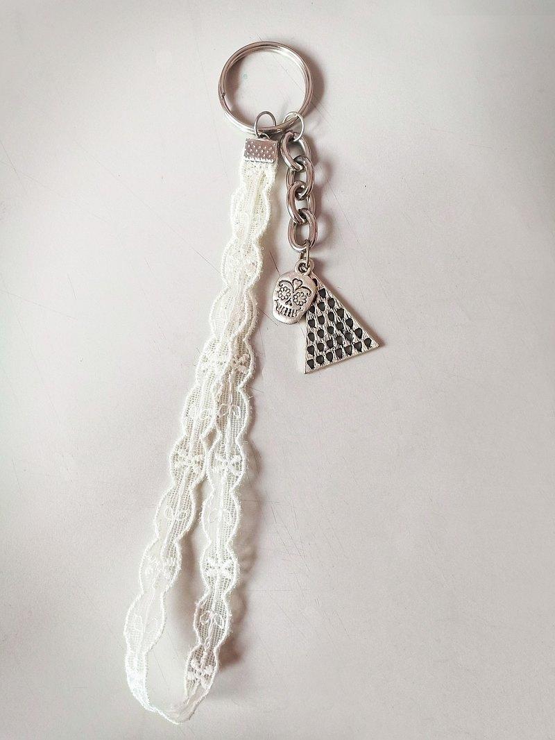 蕾絲三角骷髏頭 鑰匙圈
