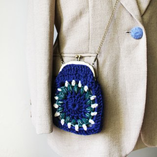 Wool coin purse mouth gold bag double chain blue