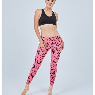 Aurora stretch tight yoga pants / pink jungle