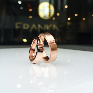 Frankness Original -14k Rose Gold Initials Love Couple Ring