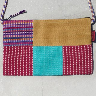 A limited edition hand-woven natural spliced ​​messenger bag / backpack / shoulder bag / bag / bag - light colors Patchwork feel