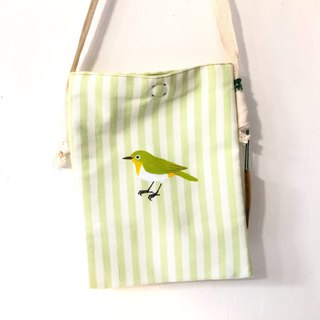 Green eyes embroidered birds hand-painted cloth bag