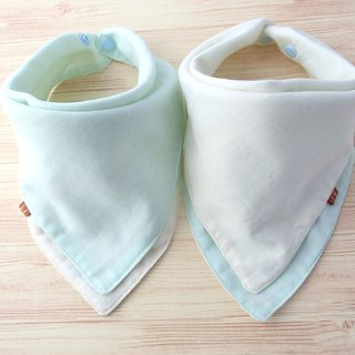 Baby Bandana Bib, Scarf Bib, Reversible, Pale Green / Off White, Japanese Cotton
