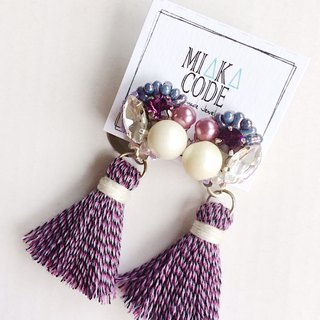 Handmade beaded Swarovski crystal beads purple tassel pearl earrings / ear clip