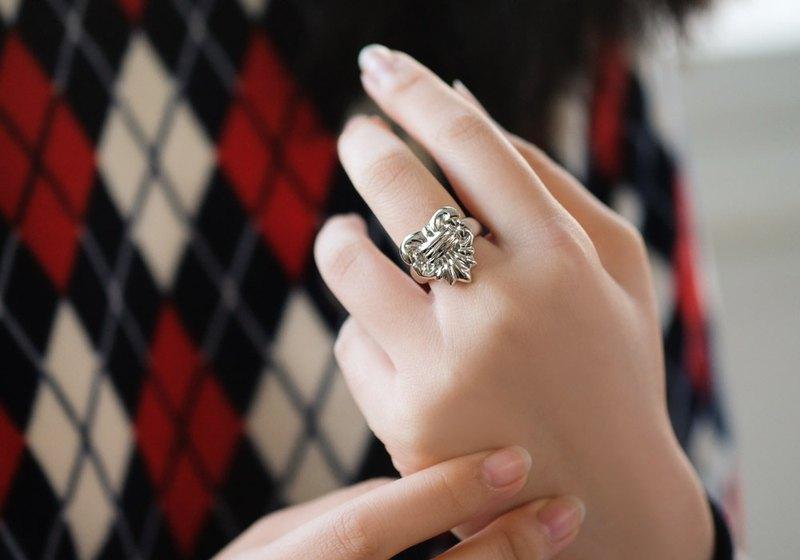 復古宮廷百合結雕塑戒指 925純銀飾 可客製戒圍