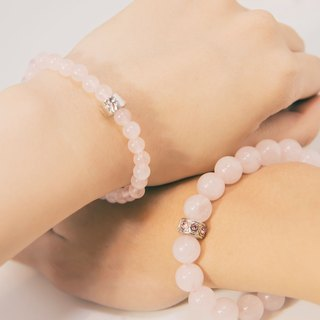 Rose Quartz Lovers Bracelet Precious Stones 6mm 10mm 1 Pair Set Free Gift Wrap