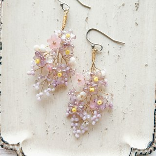 Momolico peach lily earrings bouquet lilac starry sky can be clipped
