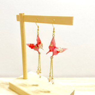 [Origami Earrings Series] Sakura Flour Love Butterfly (can be changed ear clip)