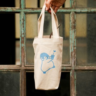 Thirsty small penguin handmade silk canvas bag (white)