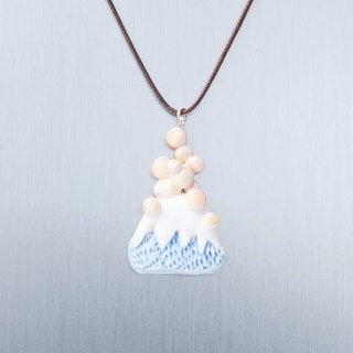 Active Volcano and Baobab Tree - Handmade White Porcelain Necklace