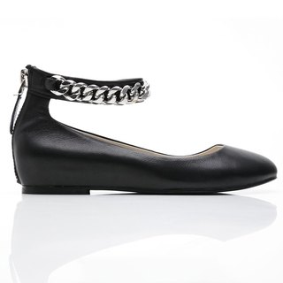 [Saint Landry] LAND Venus silver chain design ballet shoes - classic black