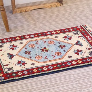 Ivory × red hand-woven carpet point rug handmade carpet wool & vegetable tree flower pattern 84 × 55 cn