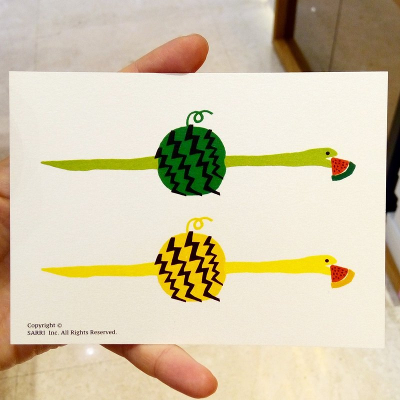Snake Eat Watermelon Postcard Birthday Card Design Coloring Illustration Drawings Cards Wanxiangka Art Fine Arts Modern Lovers Love Special Interesting Weird Features Weird Cute Taiwanese Yellow Fun Funny Eye-catching Tale of Art Sequin Glitters Cool Not F