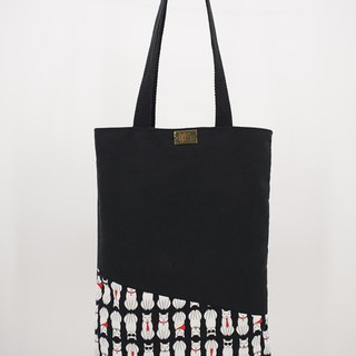 Tote Bag in White Cats on Black