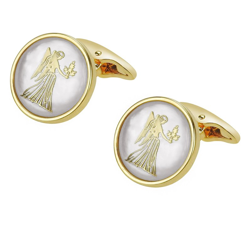 White Mother of Pearl Virgo Gold Cufflinks