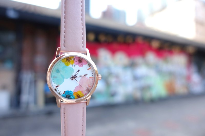 FH Flora Rosegold Watch Dried Hydrangea flowers