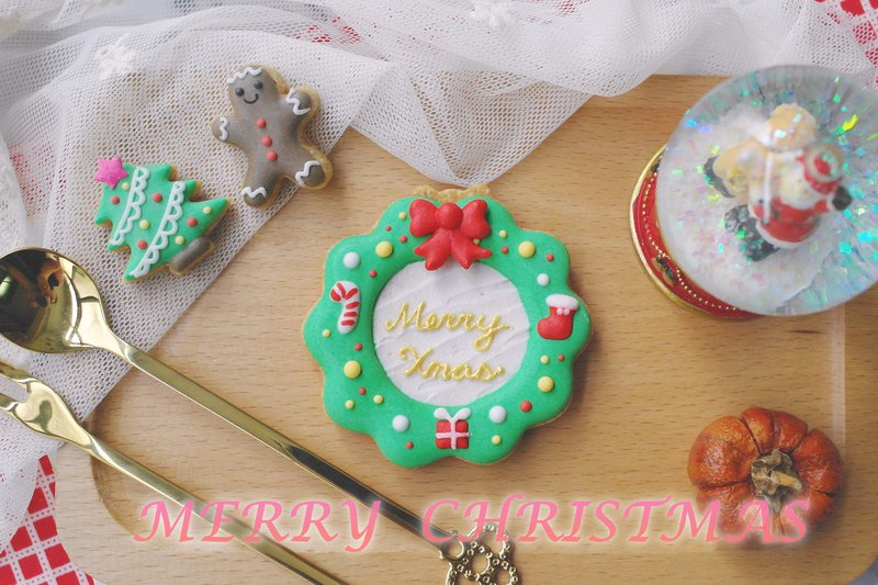 Christmas-limited icing cookies (8 pieces in wreath)