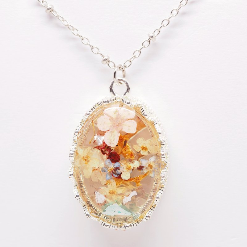 「OMYWAY」Hand Made Dried Flower Resin Necklace