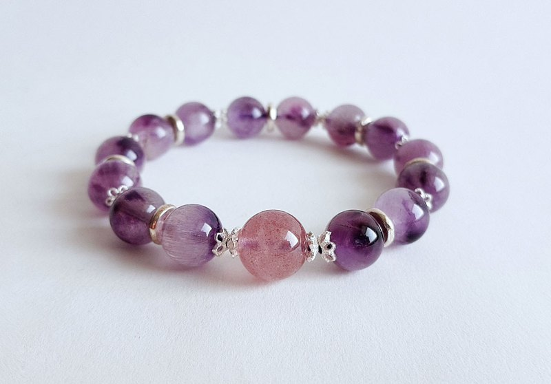 Natural Ore Purple Hair Crystal Strawberry Crystal 925 Sterling Silver Bracelet