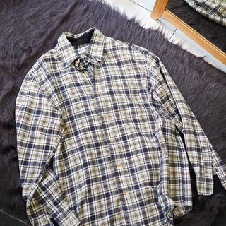 River Water Mountain - Kagoshima Cream Tea Brown Elegant Plaid Antique Cotton Shirt Top Jacket