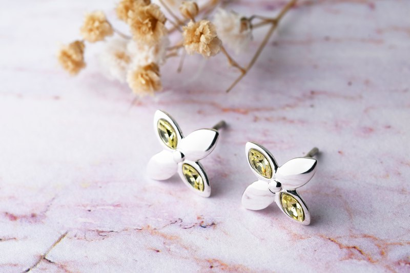Flower series four-star star cute woman flower shape needle earrings yellow horse eye drill