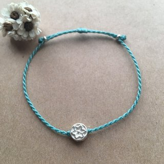 ~ M + bear ~ small round flower / Brazil wax / sterling silver / braided bracelet / 925 silver bracelet / ankle