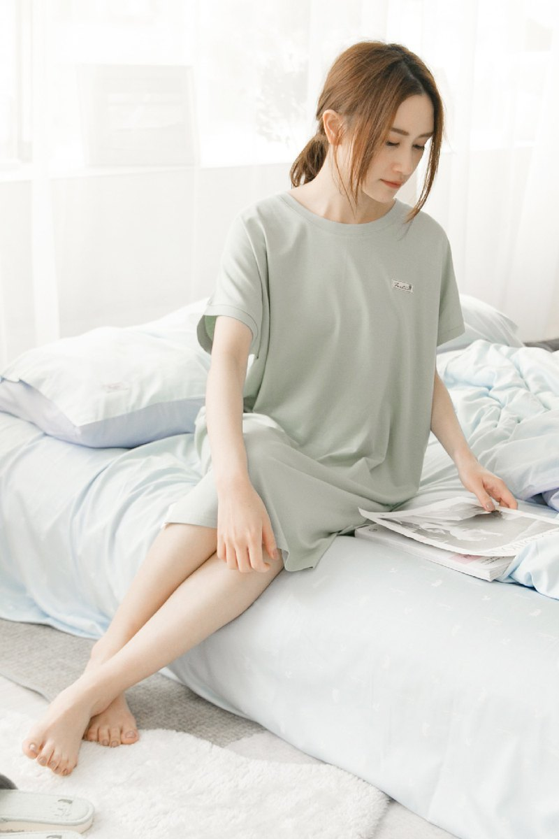 Collagen Lace Short Sleeve Home Dress One Piece (Green) Epidemic Prevention/Home Service/Valentine's Day Gift/Pajamas