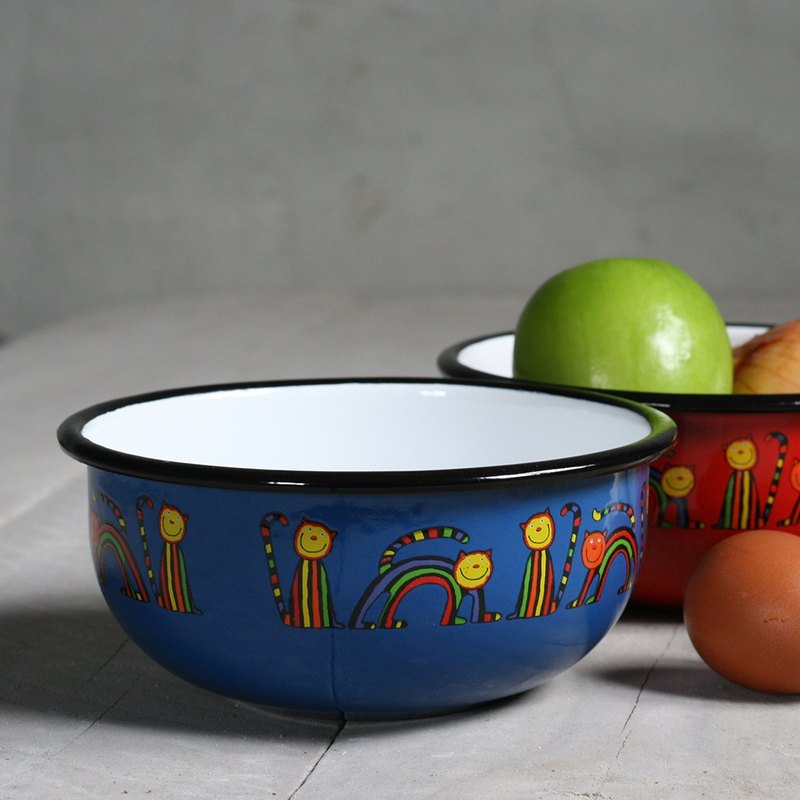 Smaltum Prague enamel soup bowl _ curve meow micro-blue and green (FDN000473)