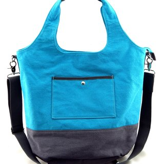 Canvas 2 with a bag (even detachable shoulder strap) - lake blue / gray