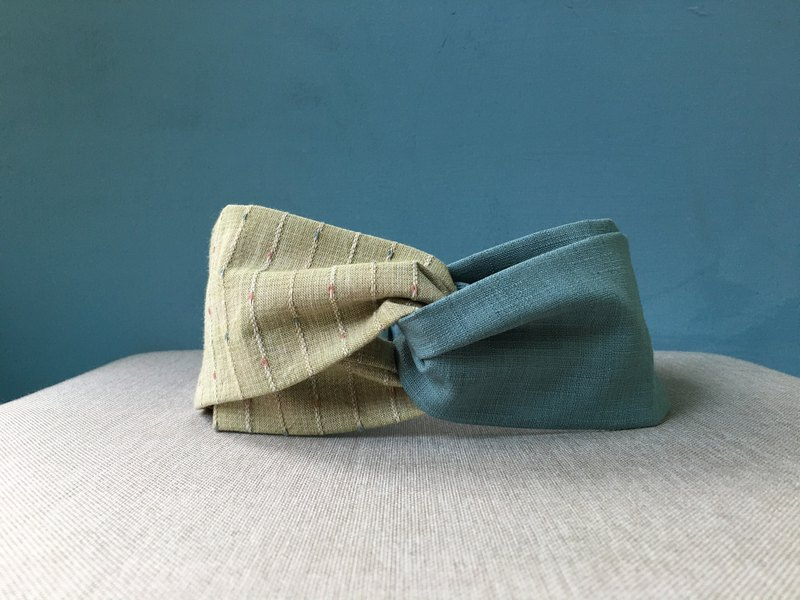 Classic hair band / gray blue green line / first dyed cloth / limited edition