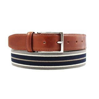 LAPELI │ Belgium elastic fabric belt - mix and match striped gray / dark blue