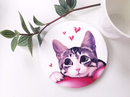 Animal illustration ceramic absorbent coaster [love cat]