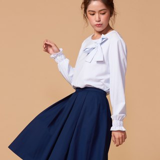 Organic cotton long-sleeved shirt front tied bow / pink blue (woman / woman)