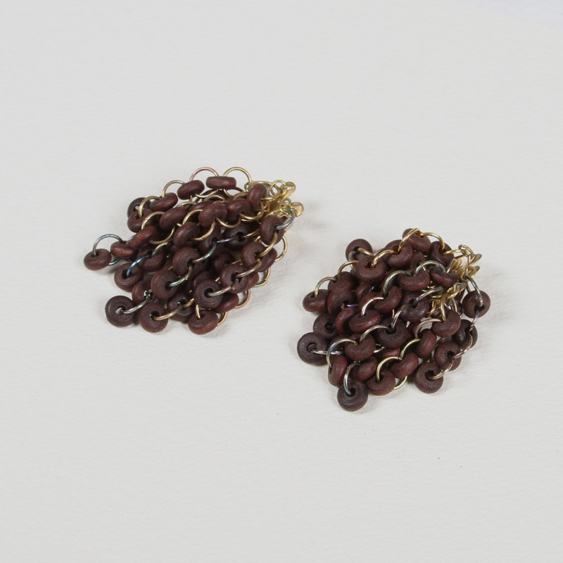 [Egg plant vintage] Caramel donut wood beads ear clip antique earrings