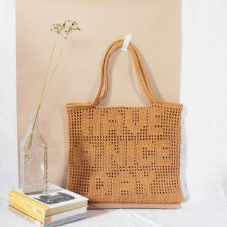 HAVE A NICE DAY ,Dark Orange ,Personalized Quote Crochet Tote Bag ,Crochet Bag