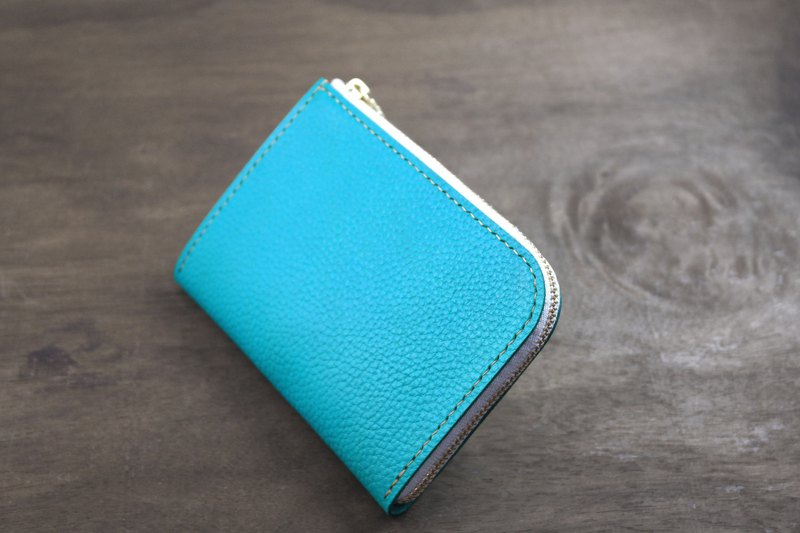 APEE leather handmade ~ L-shaped money / short wallet ~ lychee ~ Turkish blue