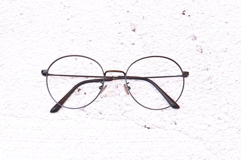 Retro round frame metal fog black thin frame frame glasses to send optical security lens nano blue lens
