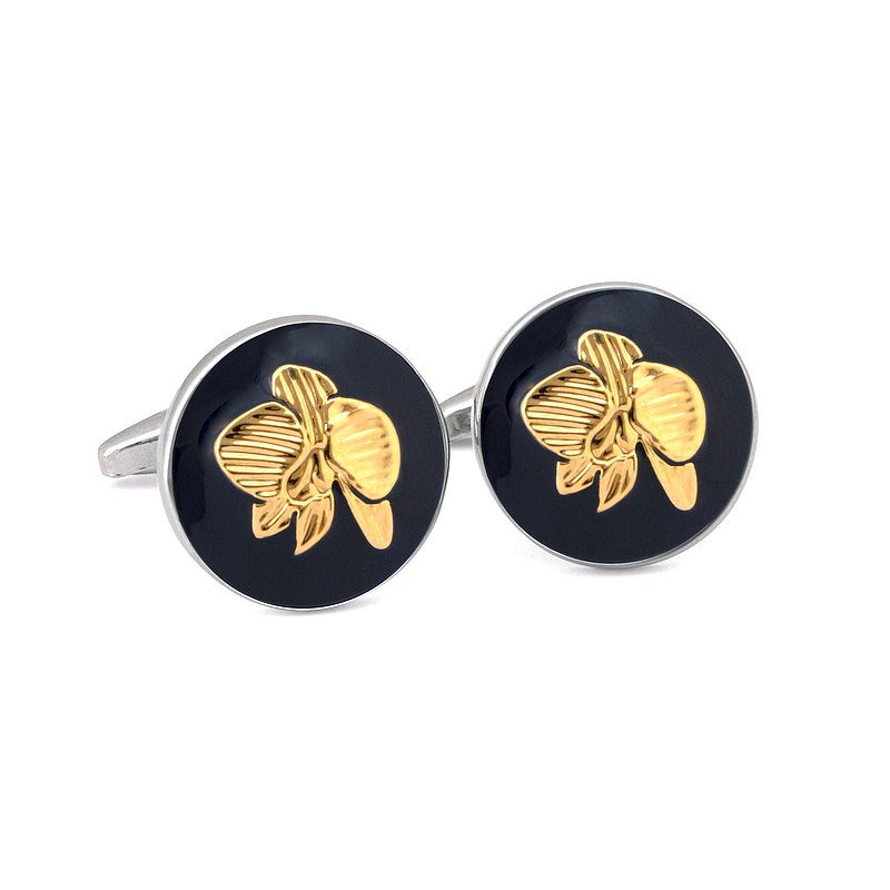 Round Cufflink with Gold Orchid Print