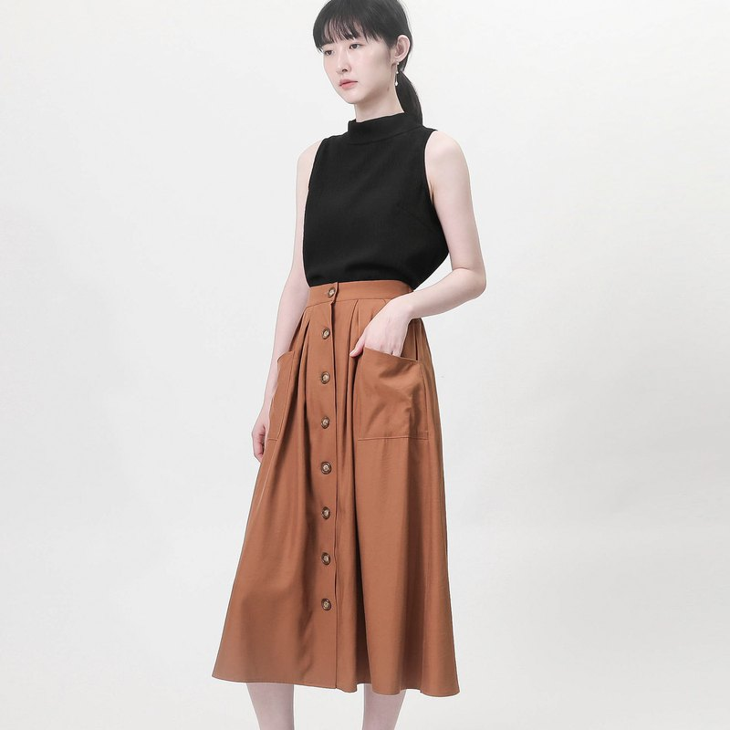 Swaying_Swaggering open skirt_9SF253_Brown