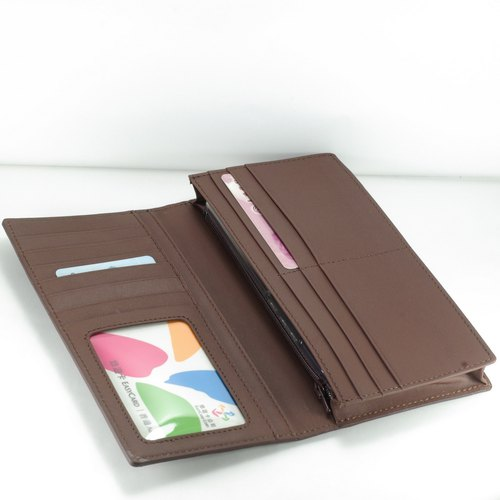 Classic vegetable tanned male long clip leather wallet 12 card photo change bag brown pay customized lettering service