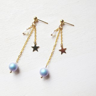 Rosy Garden golden stars light blue cotton pearl earrings