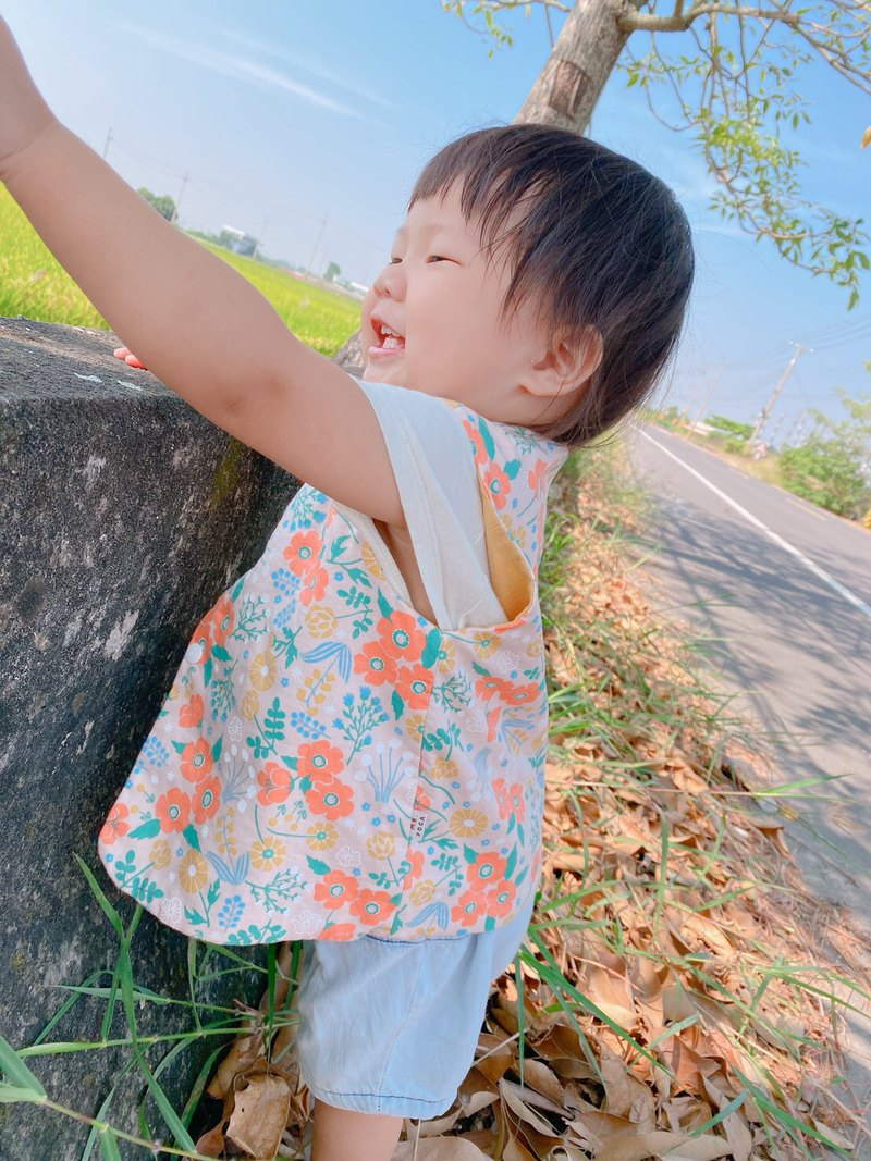 Double-sided color matching vest-coral orange blossom