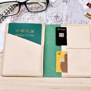 Passport sets of green water green leather color Italian leather free custom lettering