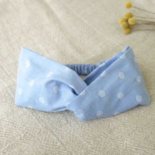 Natural wind wide hair band sky blue dot cotton
