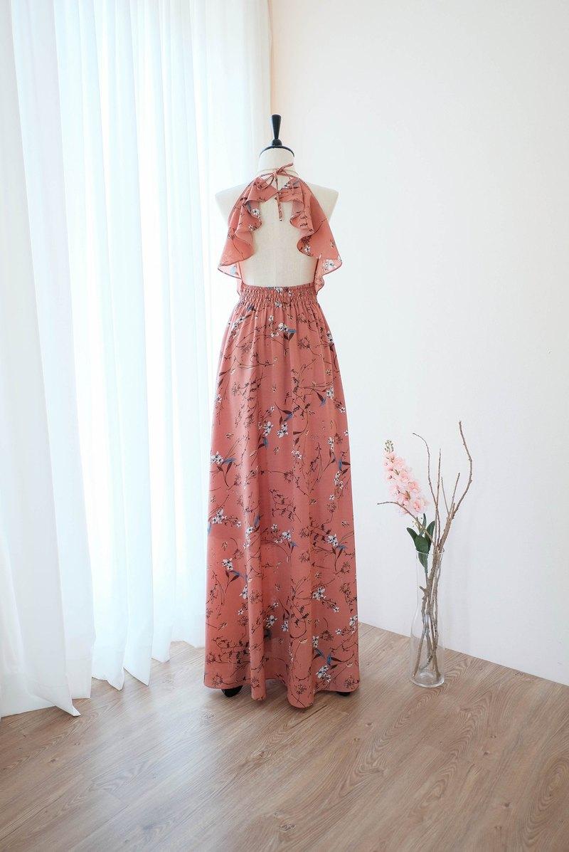 深粉色裸色碎花連衣裙長款伴娘禮服雞尾酒舞會禮服