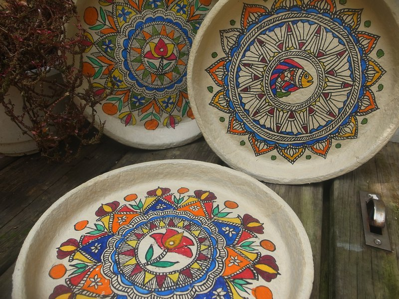 Indian painted paper plate