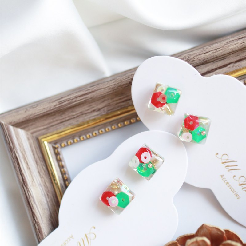 Christmas limited series - Christmas small square ear pin / ear clip