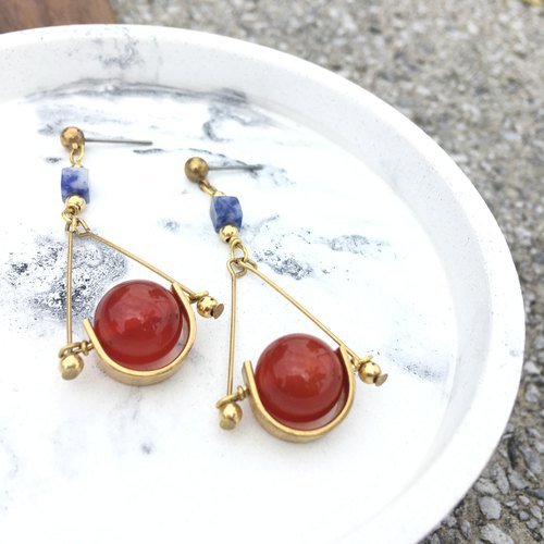 Good luck brass natural agate soda hand made earrings ear hook l ear pin l ear clip
